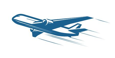 Aéronef, avion, logo ou étiquette de compagnie aérienne. Voyage, voyage en avion, symbole de l'avion de ligne. Illustration vectorielle Logo