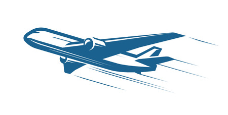 Aircraft, airplane, airline logo or label. Journey, air travel, airliner symbol. Vector illustration Logo