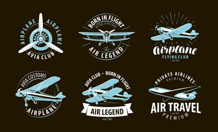 Avión, logotipo de avión o etiqueta. Símbolo de la aerolínea. Ilustración vectorial