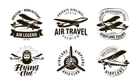 avión, logotipo de avión o etiqueta. club de vuelo, conjunto de iconos de aerolíneas. Ilustración de vector de diseño tipográfico