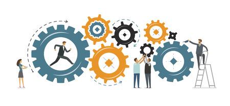 desarrollo empresarial, concepto de trabajo en equipo. ilustración vectorial aislado sobre fondo blanco