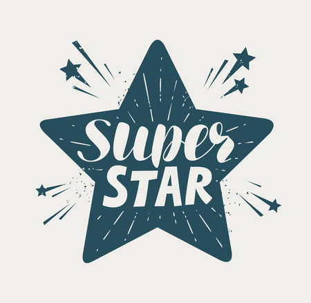 super star, typographic design. handwritten lettering vector illustration