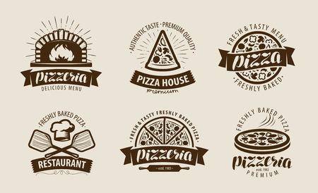 Pizza, logo lub etykieta pizzerii. Zestaw symboli żywności. Ilustracji wektorowych Logo
