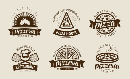 Pizza, pizzeria logo o etichetta. Set di simboli alimentari. Illustrazione vettoriale Logo