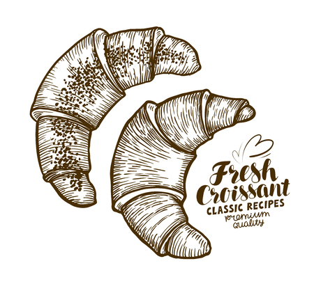 Croissant. Baked goods, pastry, dessert sketch Vintage vector illustration