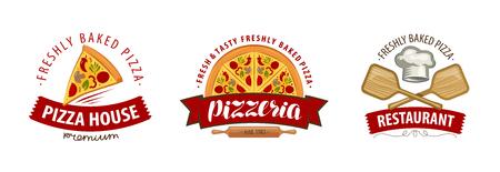Pizza, pizzeria logo or symbol. Labels for menu design restaurant or cafe. Vector illustration Logo