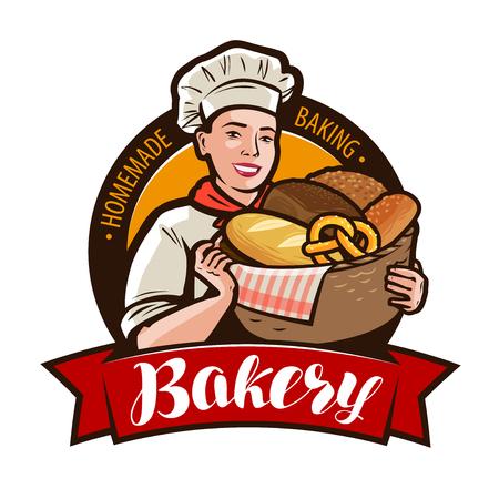 Panetteria, logo o etichetta bakeshop. Panettiere della donna che tiene un canestro di vimini pieno di pane. Illustrazione vettoriale