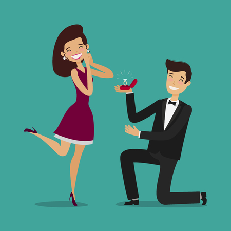 Man proposes a woman to marry. Wedding, marriage concept. Cartoon vector