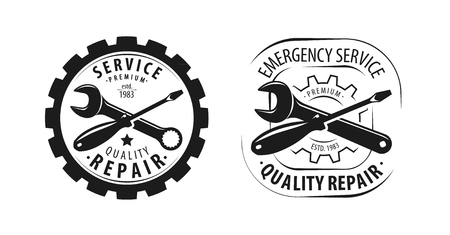 Service, repair logo or label. Tools symbol. Vector illustration