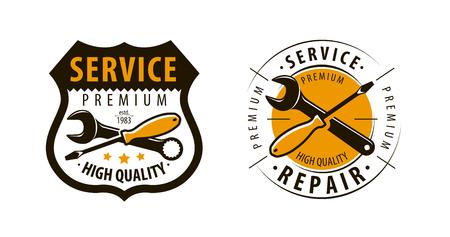 Service, workshop logo or label. Repair icon. Vector Illustration