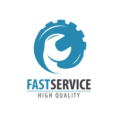 Fast service logo or label. Repair, maintenance work icon. Vector