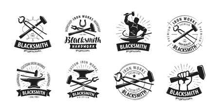 Forge, blacksmith logo or label. Blacksmithing set of icons 矢量图像