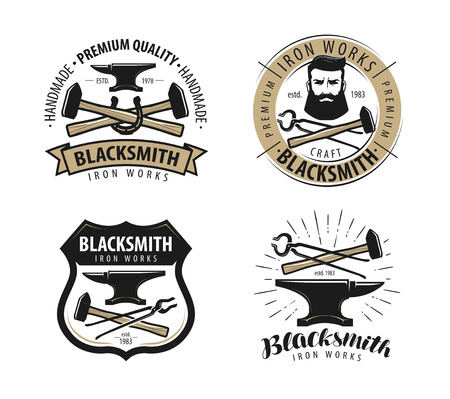 Forge, blacksmith logo or label. Blacksmithing set of emblems Stockfoto - 108230209
