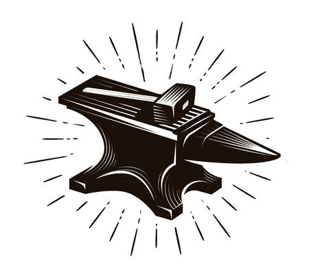 Schmied, Schmiede. Amboss und Hammer, Vektorillustration