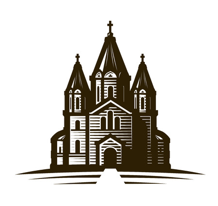 Church, place of worship or cathedral. Vintage sketch vector illustration