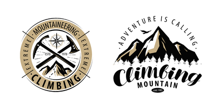 Climbing, mountaineering logo or label. Mountains vector 向量圖像