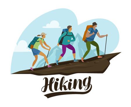 Hiking trip, climbing. People climb the mountain. Cartoon vector