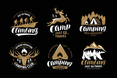 Camping, hike logo or emblem. Hiking trip, climbing label set. Vintage vector Illusztráció