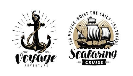 Croisière en mer, logo ou étiquette de navigation. Concept nautique. Vecteur vintage