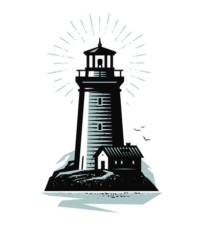Logo ou étiquette de phare. Concept marin. Illustration vectorielle