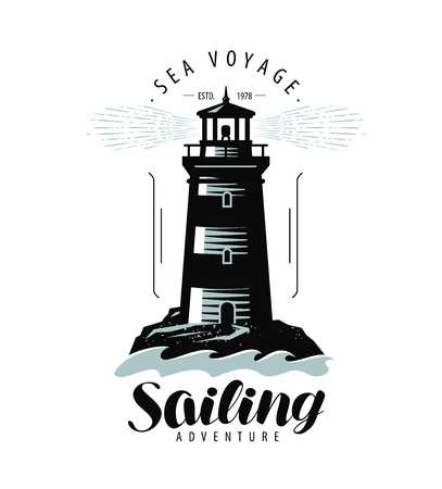 Lighthouse, sailing label or logo. Sea travel emblem. Lettering vector