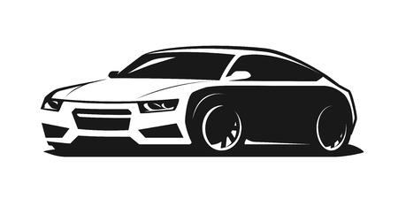 Logo o icona di auto sportiva. Rally, simbolo del garage. Illustrazione vettoriale