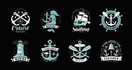 Nautical theme, set of logos or labels. Cruise, marine concept, vector