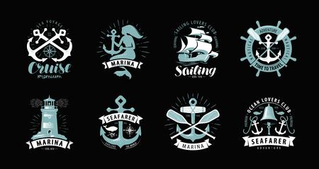 Tema nautico, set di loghi o etichette. Crociera, concetto marino, vettore Vettoriali