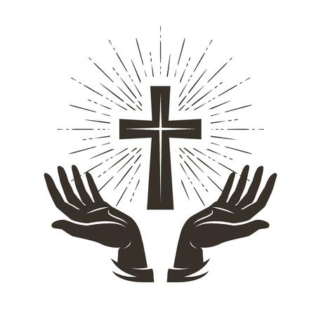 Logotipo o etiqueta de la iglesia. Oración, concepto de religión. Ilustración vectorial de la vendimia
