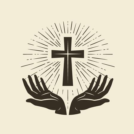 Christianity symbol of Jesus Christ. Cross, worship logo. Vintage vector illustration