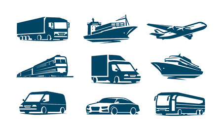 Transport icon set. Transportation symbol. Vector illustration Standard-Bild