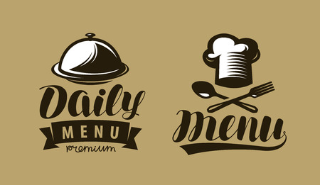Daily menu logo or label. Symbol of restaurant or cafe. Lettering vector