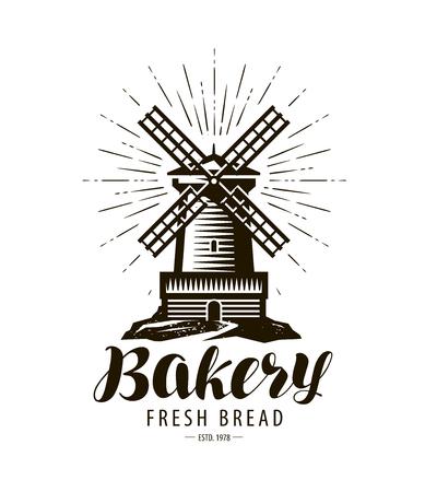 Panetteria, logo o etichetta del forno. Mulino a vento, simbolo del mulino, vettore Logo