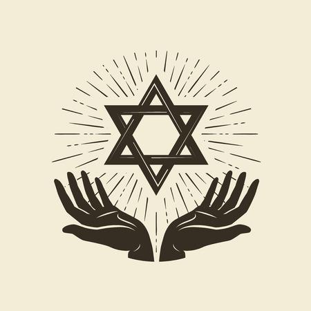 Star of David, symbol. Israel or Judaism emblem. Vector illustration