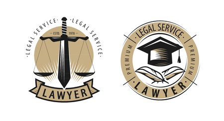 Lawyer, law office logo or label. Legal services, justice symbol. Vector