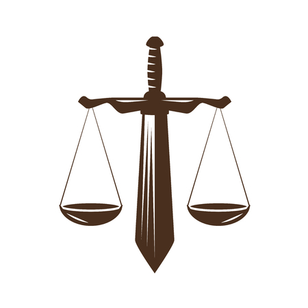 Justice, judgment icon. Law office, attorney, lawyer logo or label. Judicial scales and sword symbol, vector
