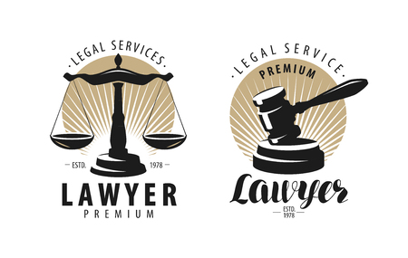 Law office, attorney, lawyer logo or label. Scales of justice, gavel symbol. Vector illustration