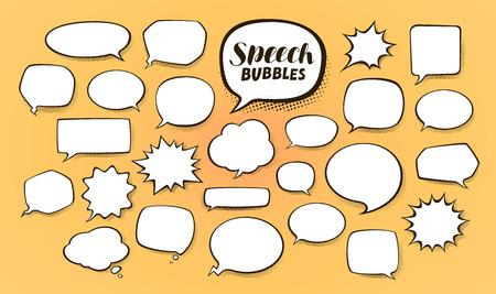 Comic speech bubbles with halftone shadows. Cartoon vector illustration