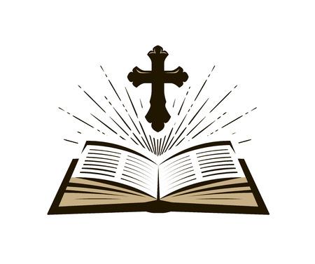 Symbol der Heiligen Bibel. Anbetung, Kirche, Psalmikone. Vektorillustration Vektorgrafik