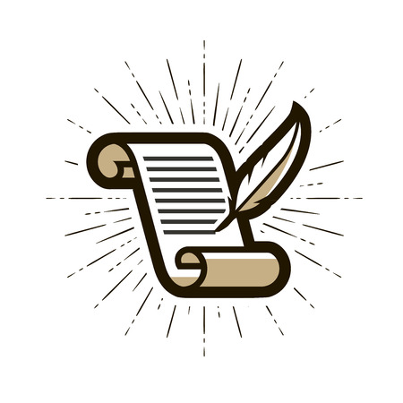 Document, contract logo or label. Literature, letter, quill pen and paper icon. Vector illustration