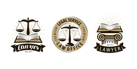 Lawyer, law office logo or label. Legal services, justice, judicial scales symbol. Vector