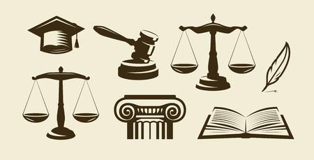 Justitie set van pictogrammen. Advocaat, advocaat, wetsymbool. Vector illustratie