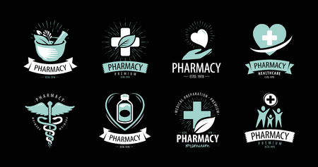 Pharmacy, drugstore logo or label. Medicine, health symbol. Vector concept
