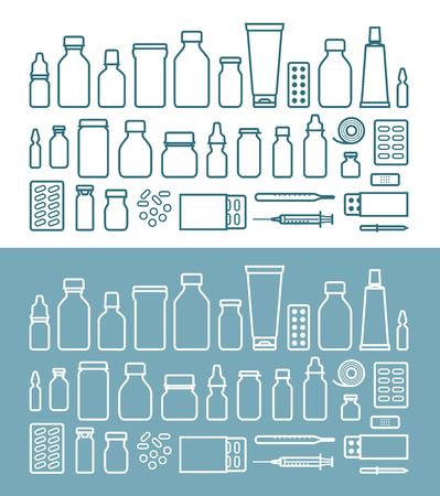 medications and pills icon set. medicine, hospital concept. vector