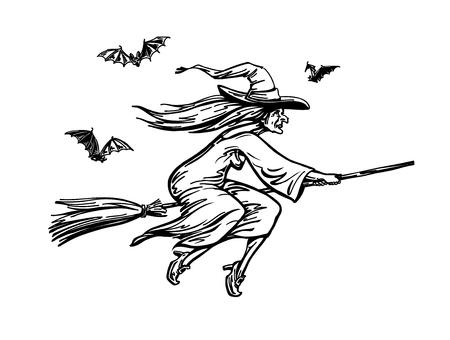 Witch flying on broomstick. Halloween sketch, vector Ilustração