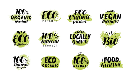 Eco, bio logo. Healthy food label set. Vector lettering Stock Illustratie