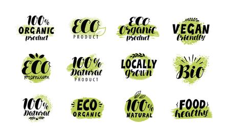 Eco, bio logo. Healthy food label set. Vector lettering Stock Illustratie