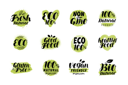 Natural, organic logo or label. Eco set badges. Lettering vector