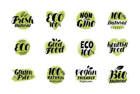 Natural, organic logo or label. Eco set badges. Lettering vector Logó