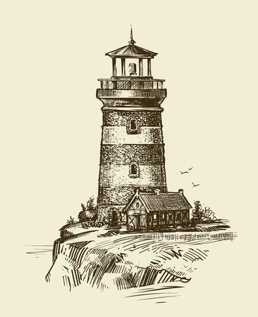 Lighthouse on seashore, sketch. Seascape vintage vector